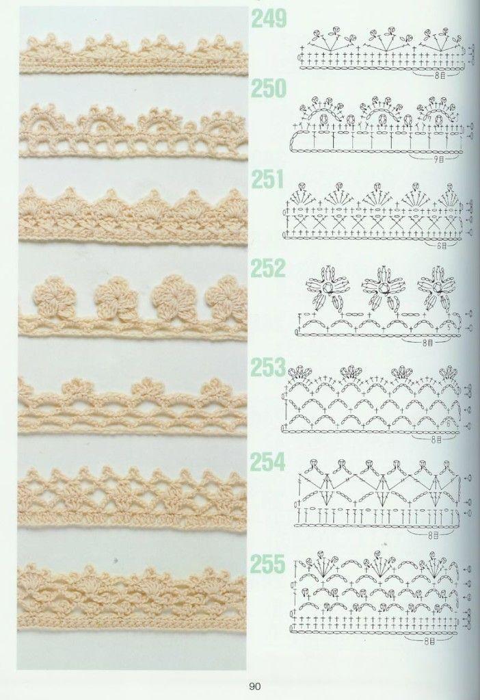 points de crochet a imprimer | schemas de bordures 5                                                                                                                                                      Más
