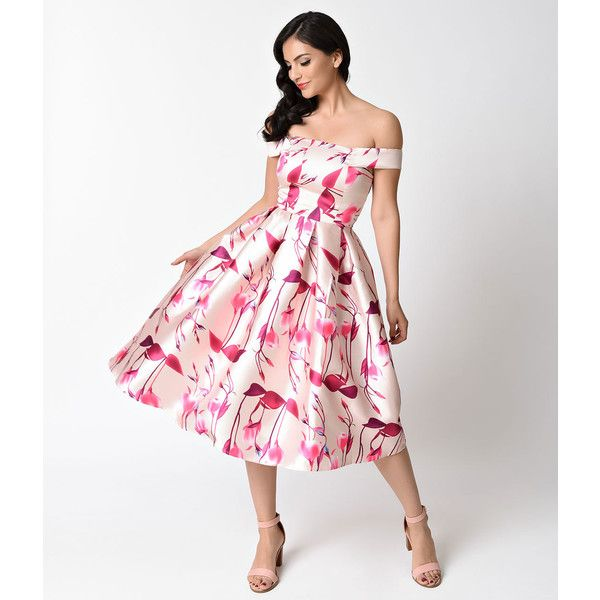 Retro Style Peach & Pink Floral Print Off Shoulder Swing Dress ($58 ...