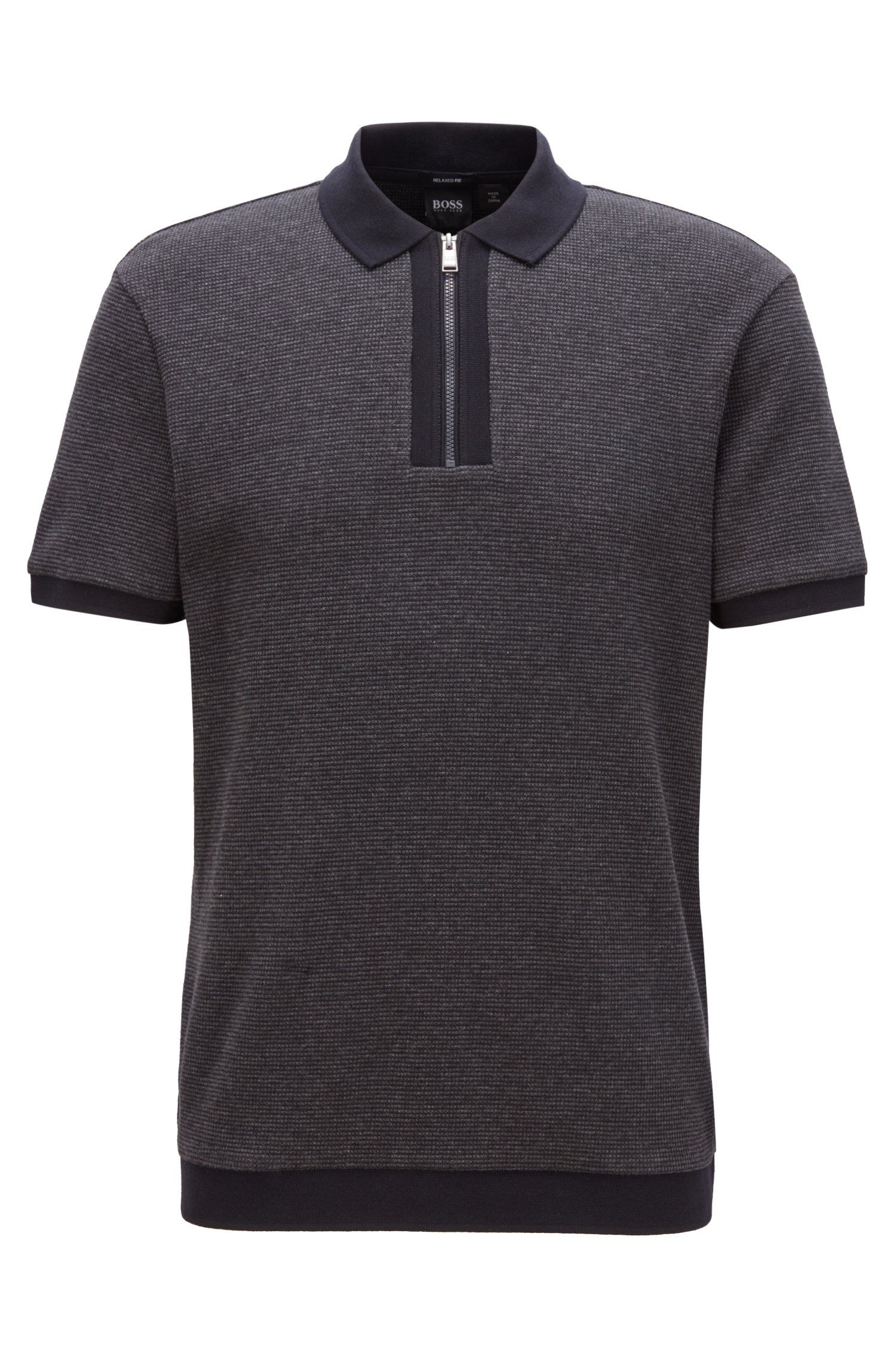 BOSS Relaxed fit polo shirt in cotton with zip neck