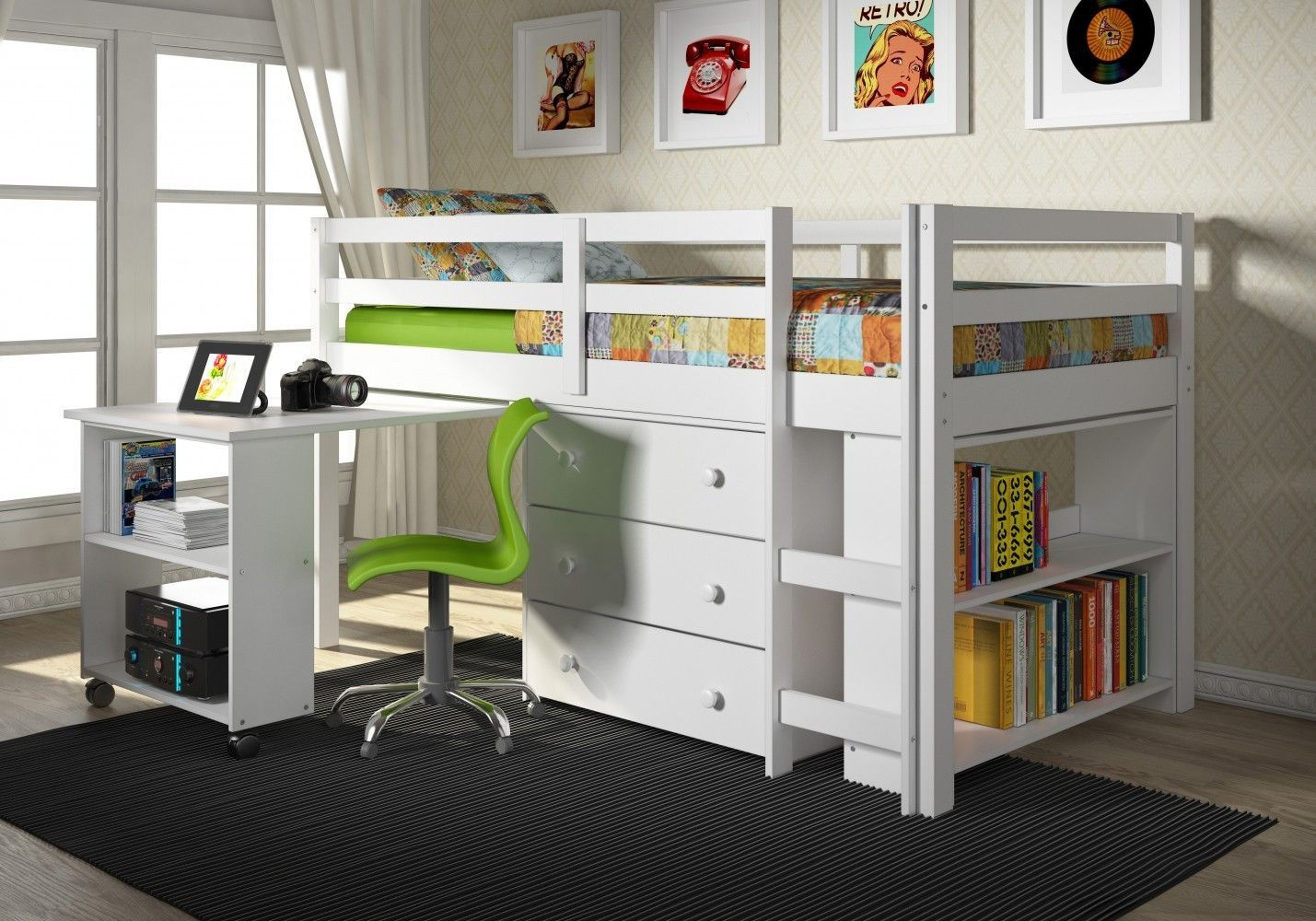 Kids Furniture Set with Twin Loft Bed, Desk, Dresser & Bookcase in One