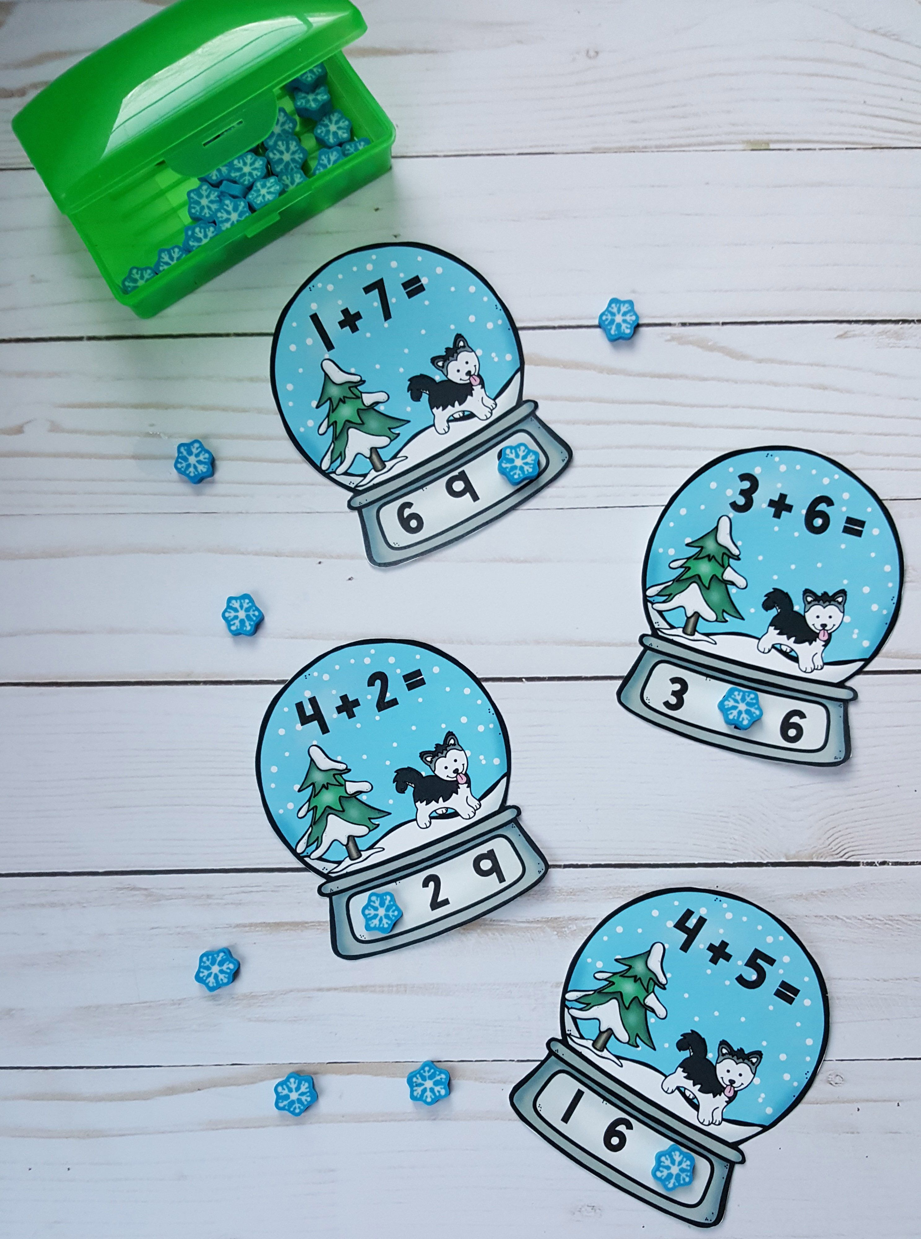 Snow Globe Winter Addition Clip Card Math Centers Sums to 10   Early ...