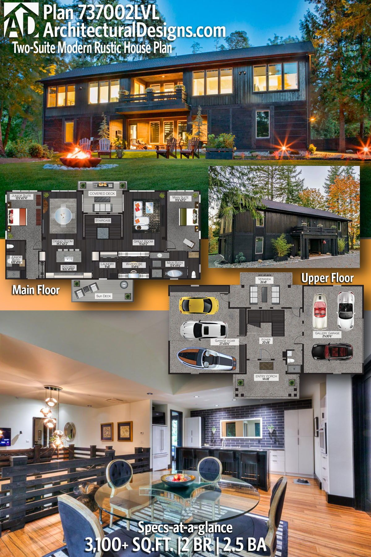 Plan 737002lvl Modern Barndominium House Plan With Two Bedroom Suites In 2021 Rustic House Plans Barn Style House Plans Rustic House