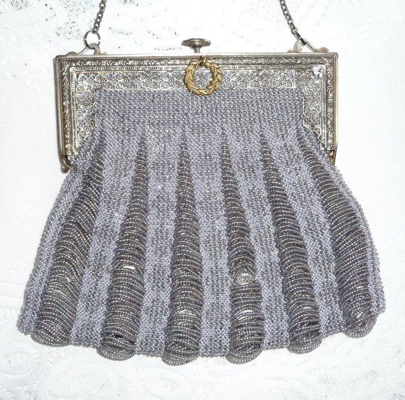 Beaded Knit Purse on Antique Filigree Purse Frame by Purses4U2, $90.00