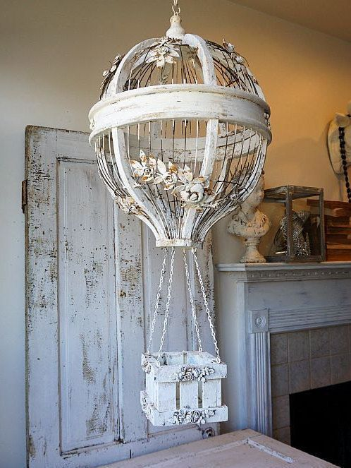 Do Not Purchase Item Reserved By S Thru 11 19 16 Hanging Hot Air Balloon Birdcage Home Decor Wood Wire Cream Large Ornate Shabby