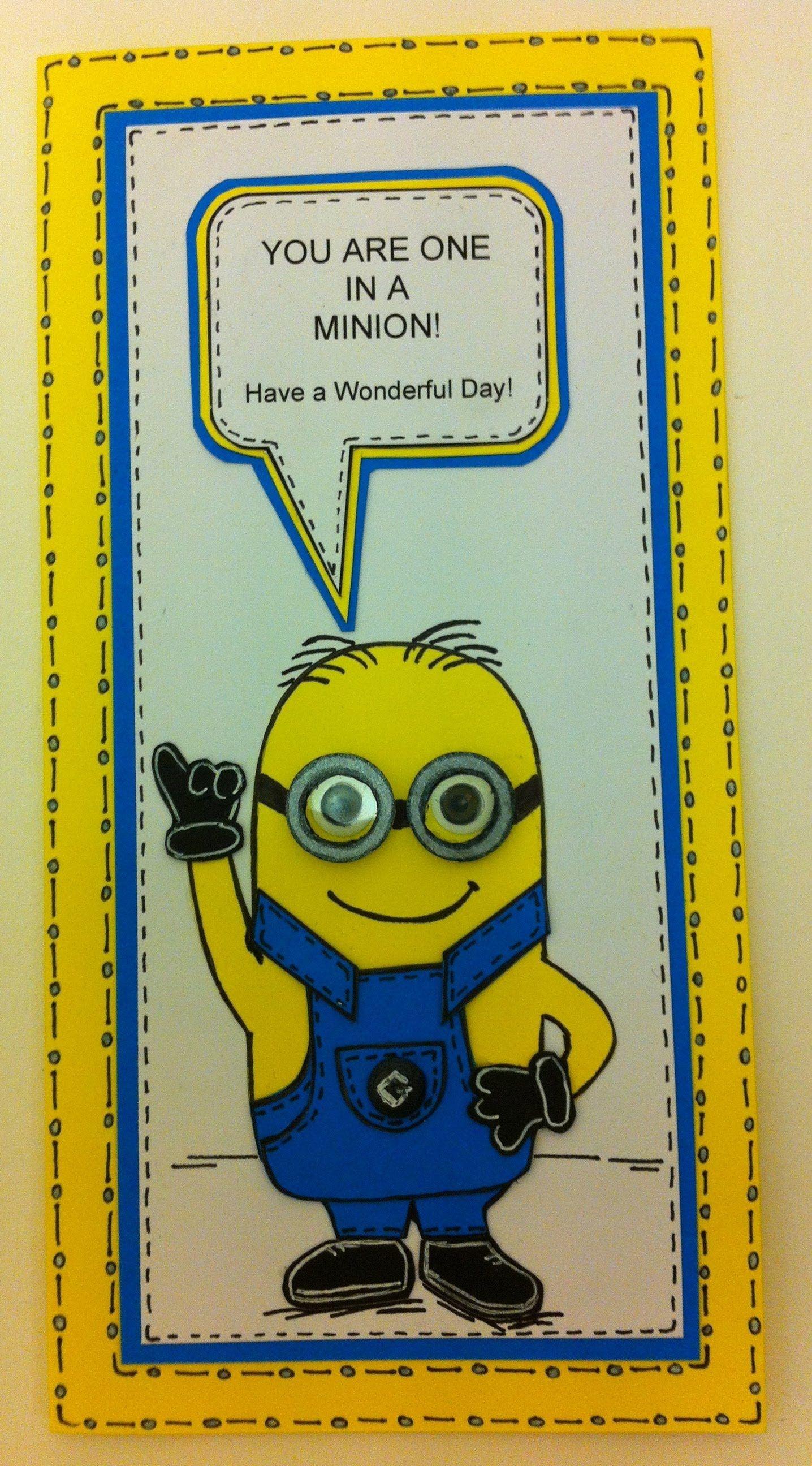 one in a minion birthday card tutorial email me for free template