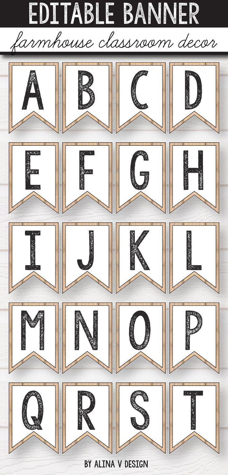 Bearbeitbare Banner  Bauernhaus Alphabet Bunting Bulletin Board Briefe
