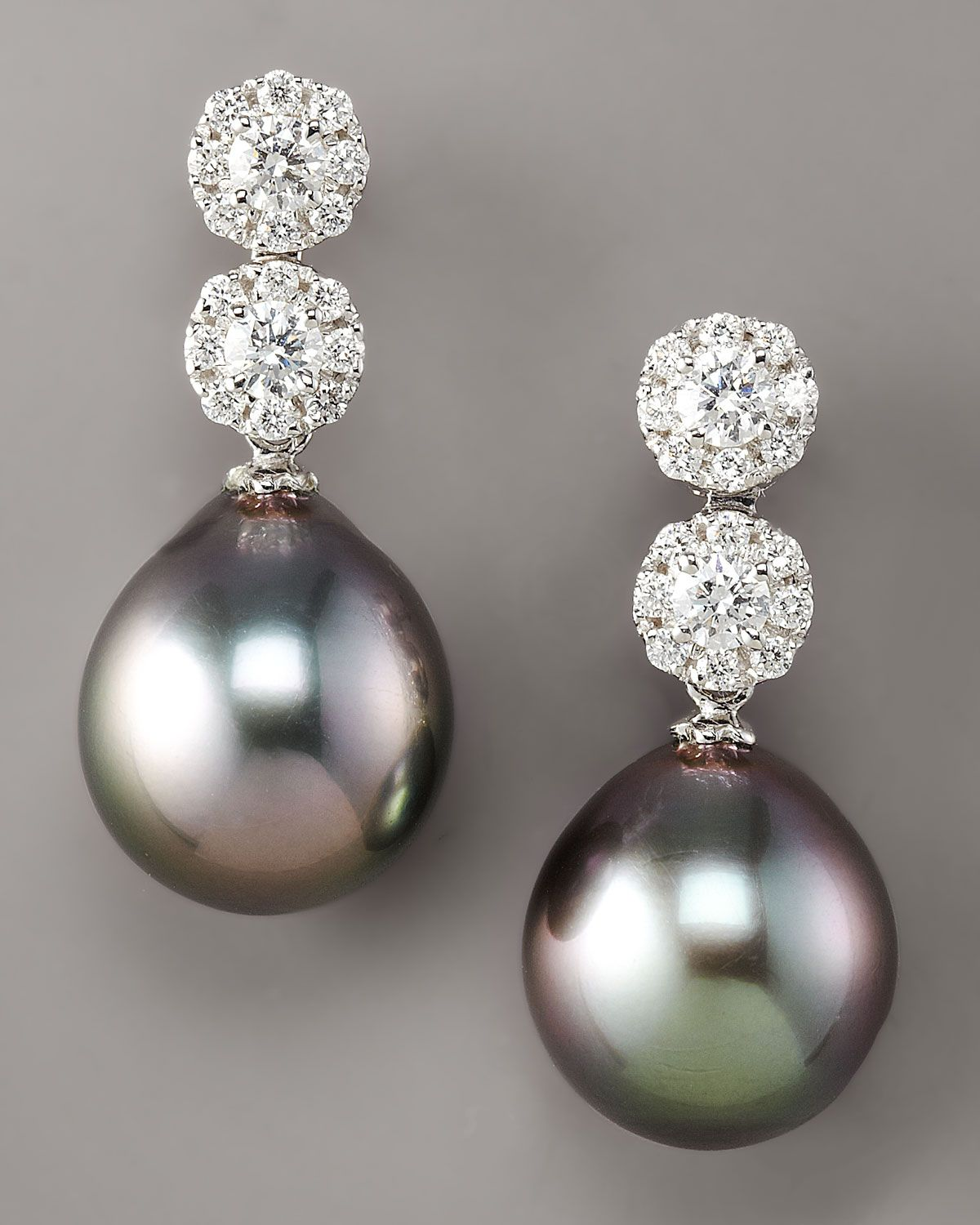 Women's Black Diamond & Pearl Drop Earrings