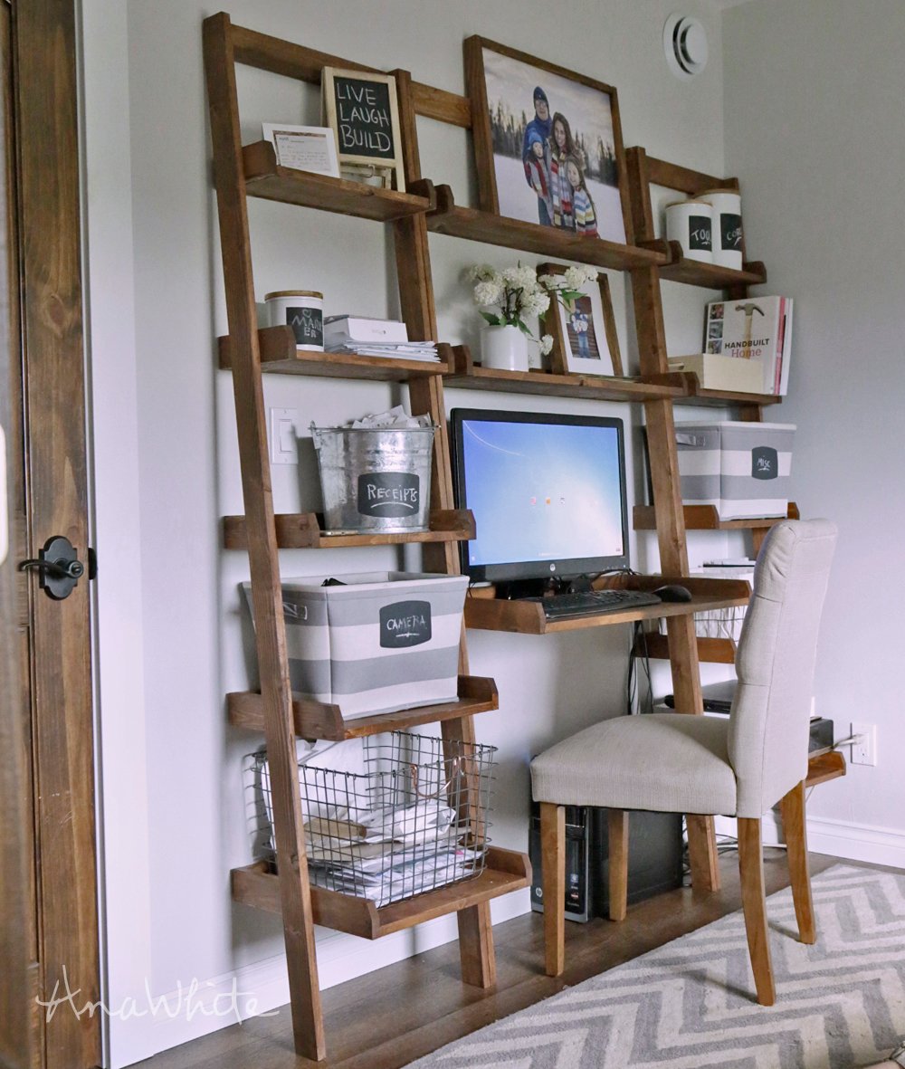 Leaning Wall Ladder Desk In 2020 Ladder Desk Wall Ladders Cheap Office Furniture