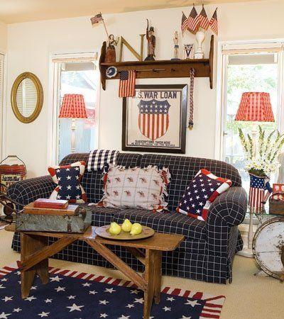Cute Americana Living Room Primitive Folk Art
