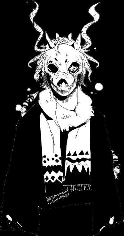 anime manga demon boy skull boy draw black blackandwhit
