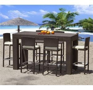 High Top Modern Outdoor Wicker Dining Set By Source 2795 00 This