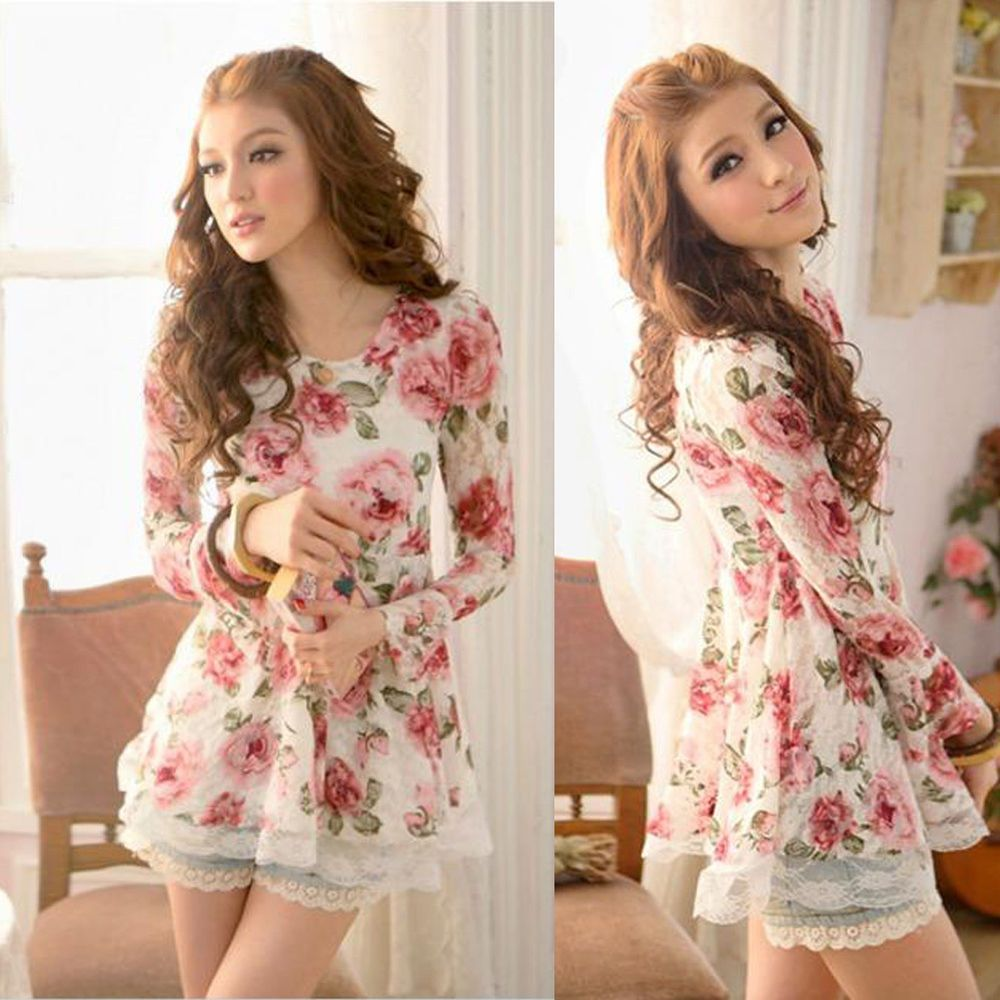 Korean Fashion Women's Rose Floral Chiffon Tops Long Sleeve Shirt Lace Blouse