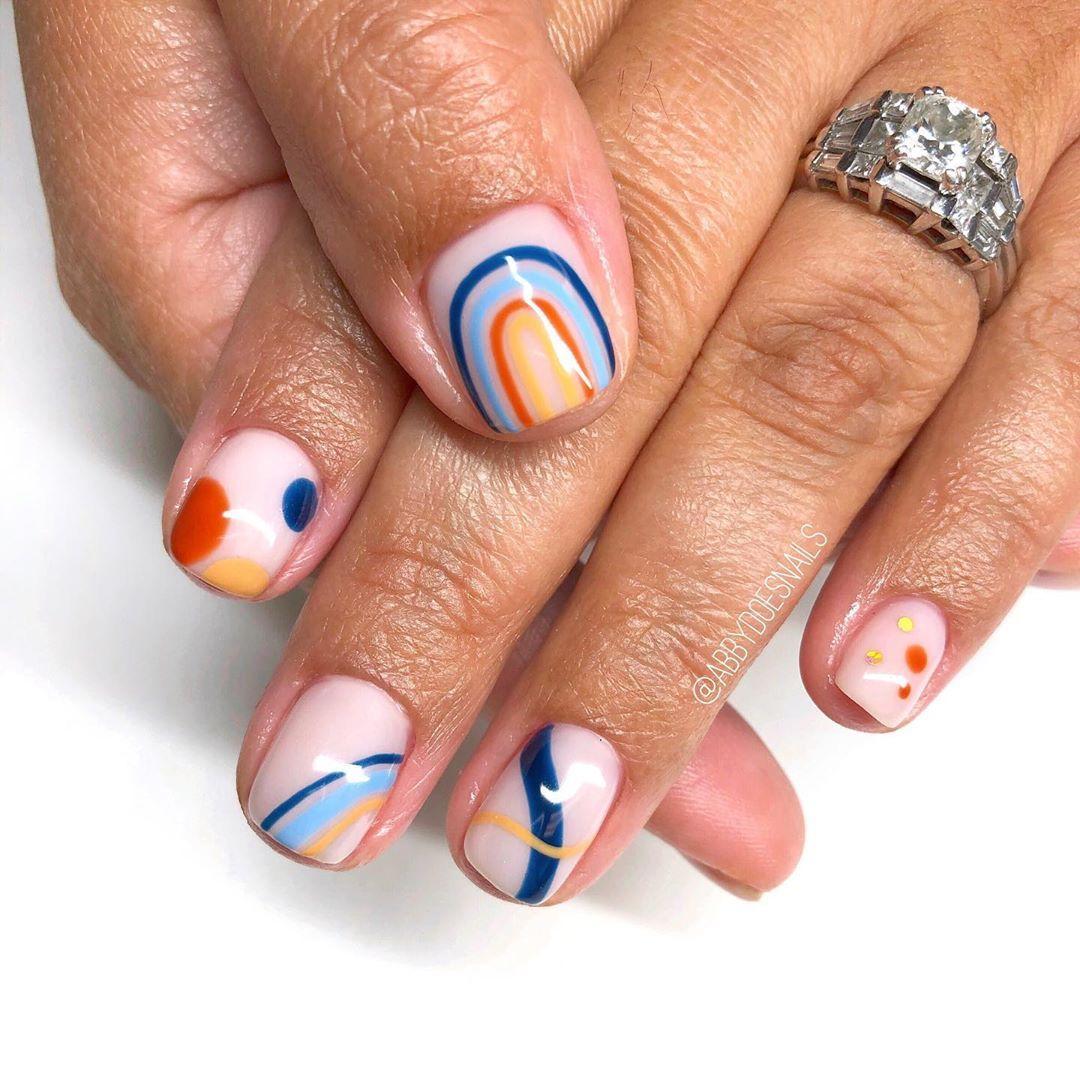 "Abby Johnson's Instagram photo: ""not your typical @safinailstudio inspo 💙 #handpaintednailart #nailart #gelnails #gelmanicure #gelpolish #nailpro #nailswag #nailstagram…"""