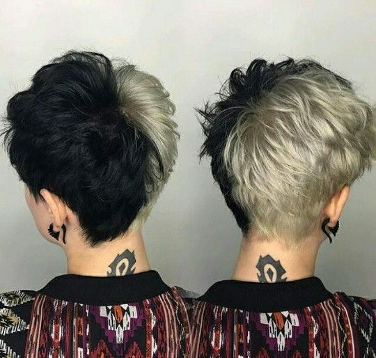 Blonde And Black Pixie Dyed Hair Men Short Hair Styles Split Dyed Hair