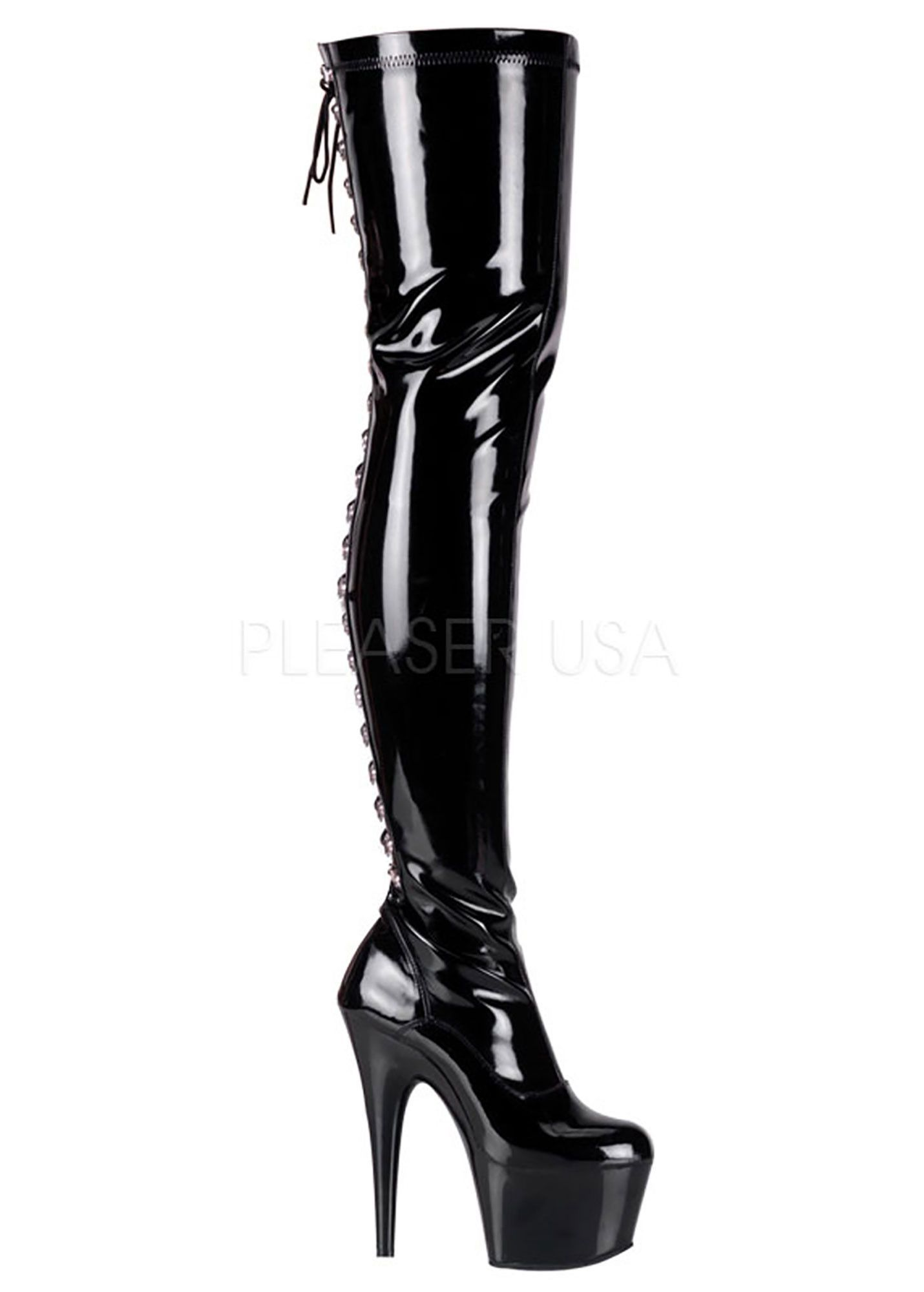 abd426e3a0d Black Stretch Thigh High Stripper Boots