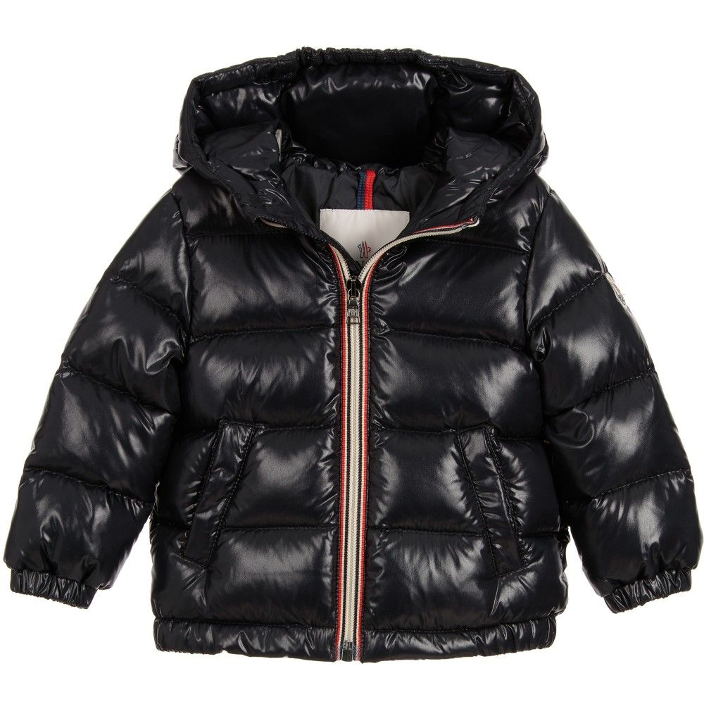 Moncler Baby Navy Blue Down Padded 'Aubert' Jacket at http://www