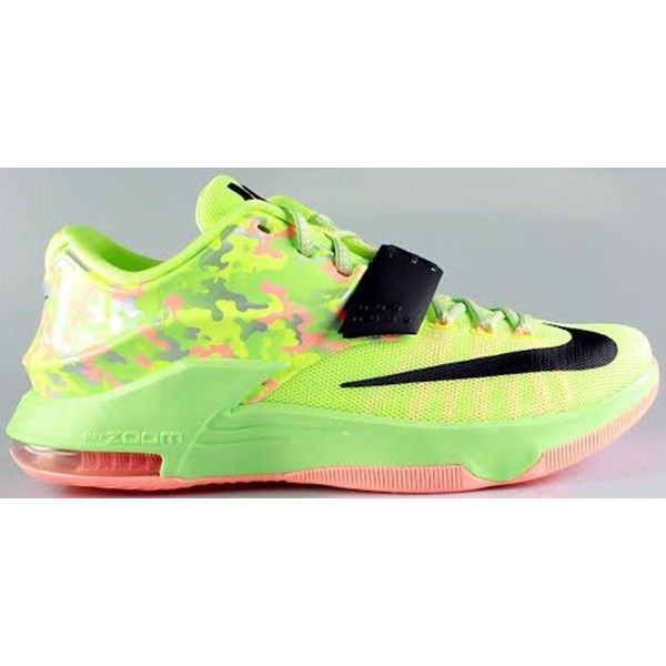 Nike KD VII Liquid Lime/Black-Vapor Green-Sunset ❤ liked on Polyvore  featuring shoes | Polyvore | Pinterest | Limes, Polyvore and Black
