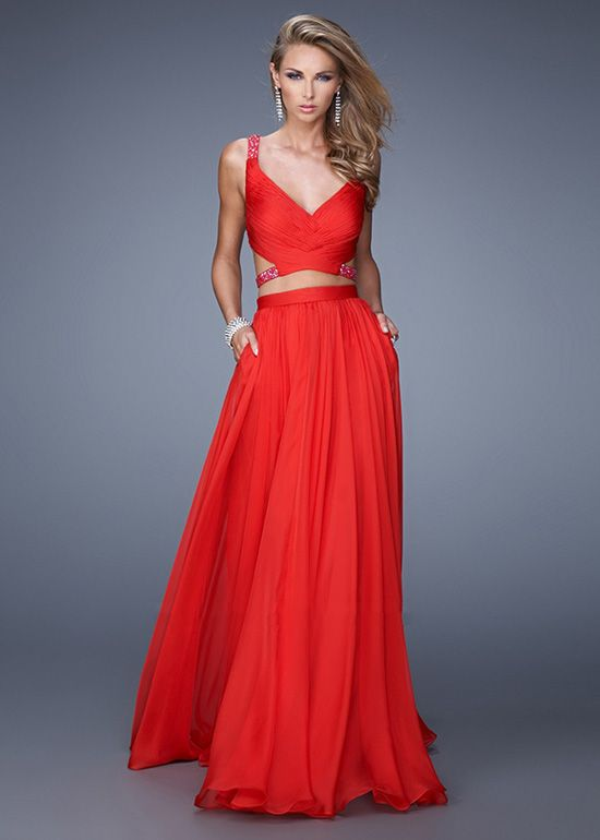 Wishesbridal Two Piece Long Red Chiffon A Line Prom Evening Dress ...