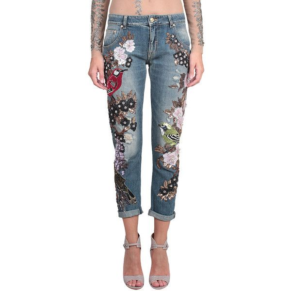 Amen Couture Cotton denim Jeans with Bird and Flower embroidery (18 025  SEK) ❤