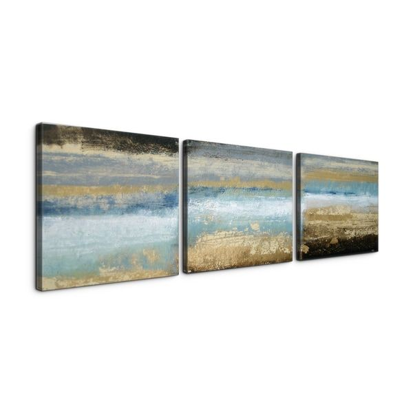 Rising tide 24x72 textured canvas print triptych