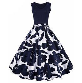 Floral Print High Waist Retro Vintage Swing Party Dress
