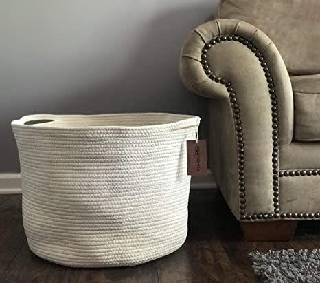 """Cotton Rope Storage Baskets 23.6""""x17.7""""x13.8'' Extra Large Boho Blanket Basket Living Room Woven Toy Storage Bin for Blankets Tall Laundry Hamper Baby Nursery Hampers"""