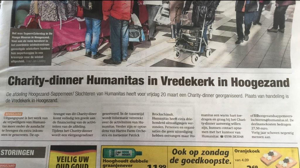 Vrijdagavond 20 maart staat er weer een optreden gepland!! #vredekerk #Hoogezand #charitydinner #humanitas