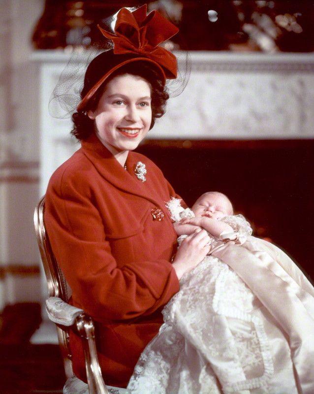 Princess Elizabeth with Prince Charles of Edinburgh