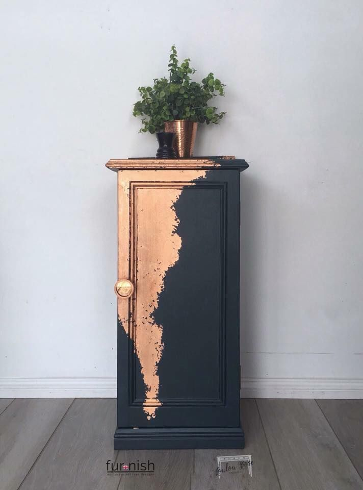 Photo of Dark Blue and Copper Leaf Cabinet – #BLUE #Cabinet #Copper #Dark #Leaf #