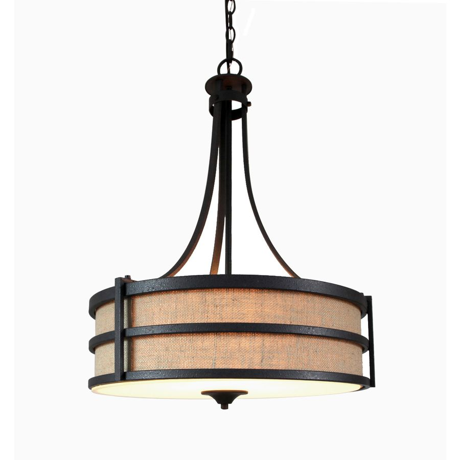 Shop Allen  Roth 20In W Textured Rustic Iron Pendant Light With Amazing Kitchen Lighting Lowes 2018