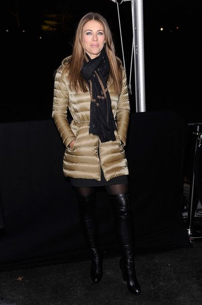Elizabeth Hurley wearing a Moncler quilted down coat. Shop Moncler > http://www.lineafashion.com/store/sale-womens-moncler-332