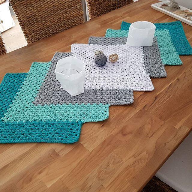 Granny Square Tischläufer Tischläufer Häkeln Table Covers Table