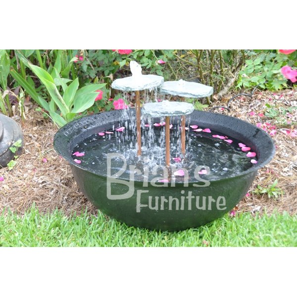 3 Ft Fiberglass Sugar Kettle With 3 Level Rain Rock Fountain | Brianu0027s  Furniture