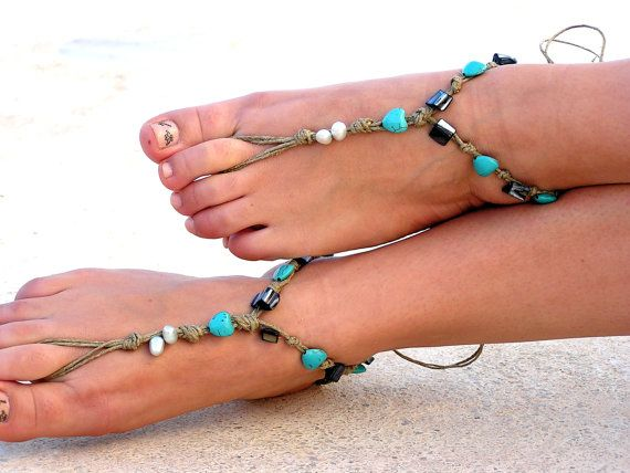Barefoot Sandals Barefoot Beach Jewelry Seashells by SoftCrystal, $20.00
