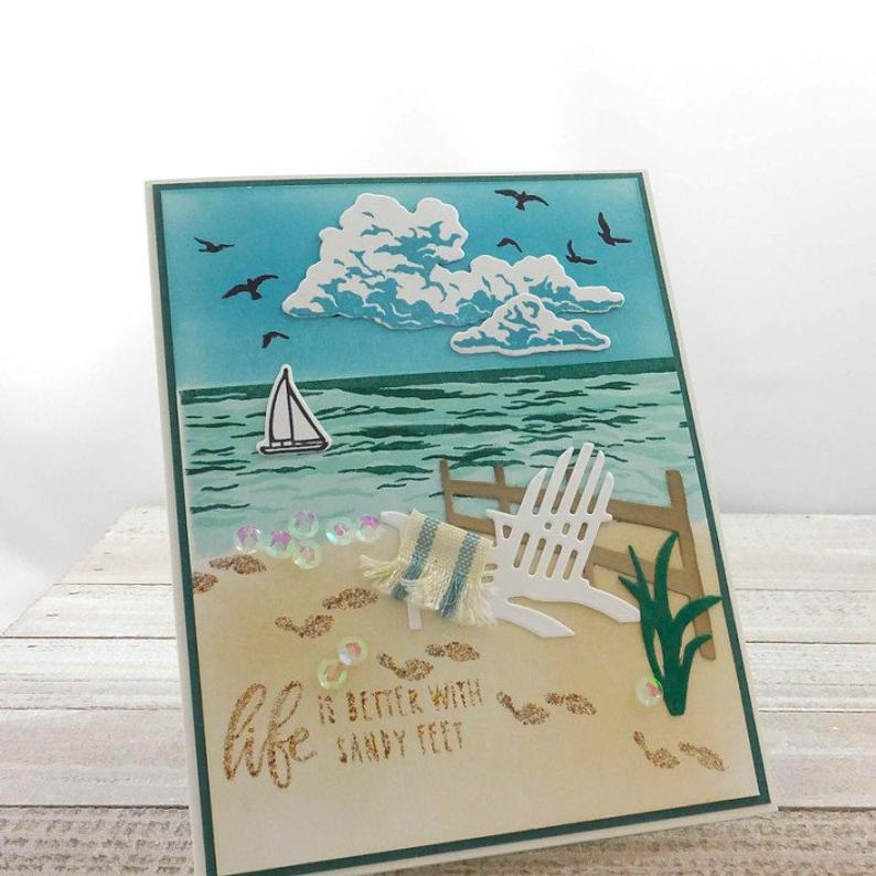 Handmade Beach Scene Card - Sea & Sky -Sand Sun an