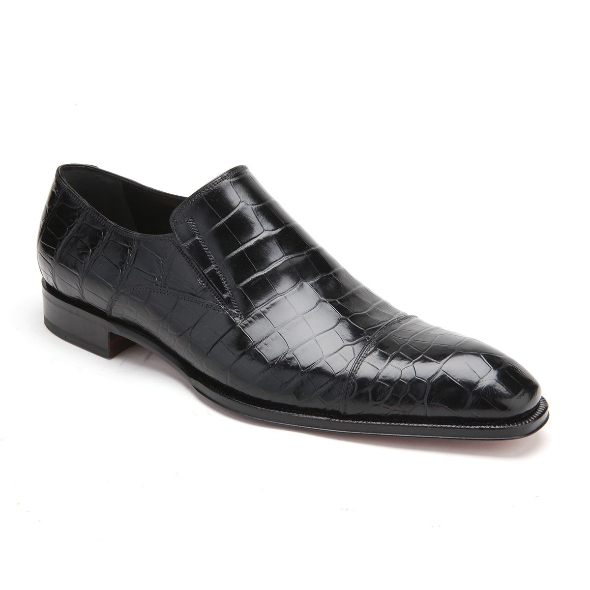 2421ac41d Caporicci Italian Mens Shoes Black Alligator Loafers ART943 (CAP1028 ...