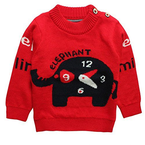 Little Boys Girls Baby Elephant Cartoon Cashmere Sweater Size 3T Red >>> Want to know more, click on the image.