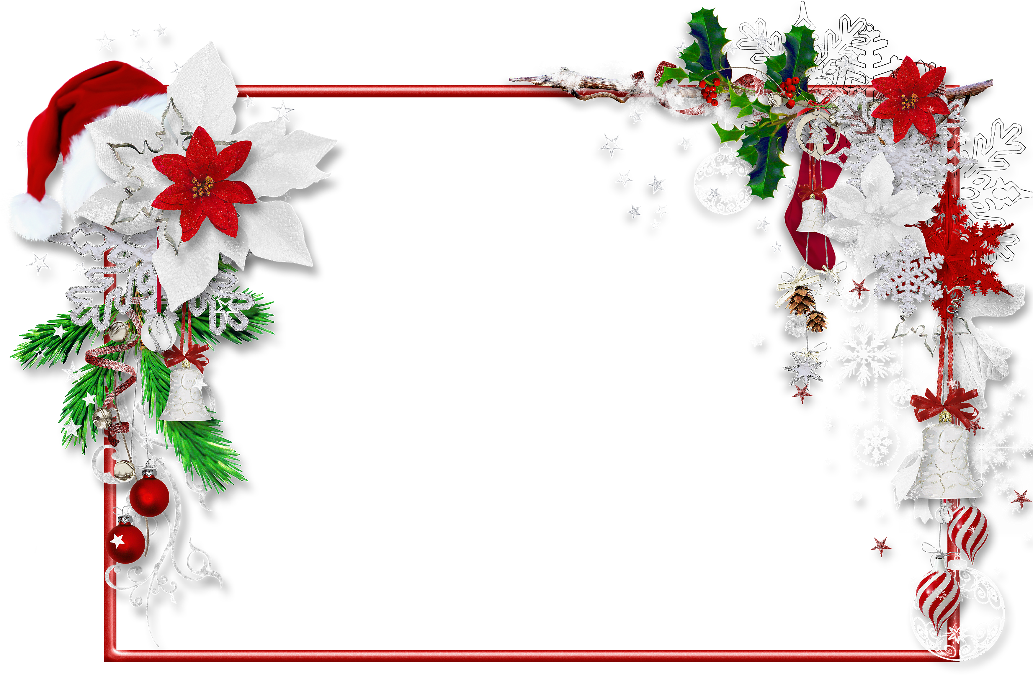 Christmas PNG Photo Frame with Santa Hat and Mistletoe