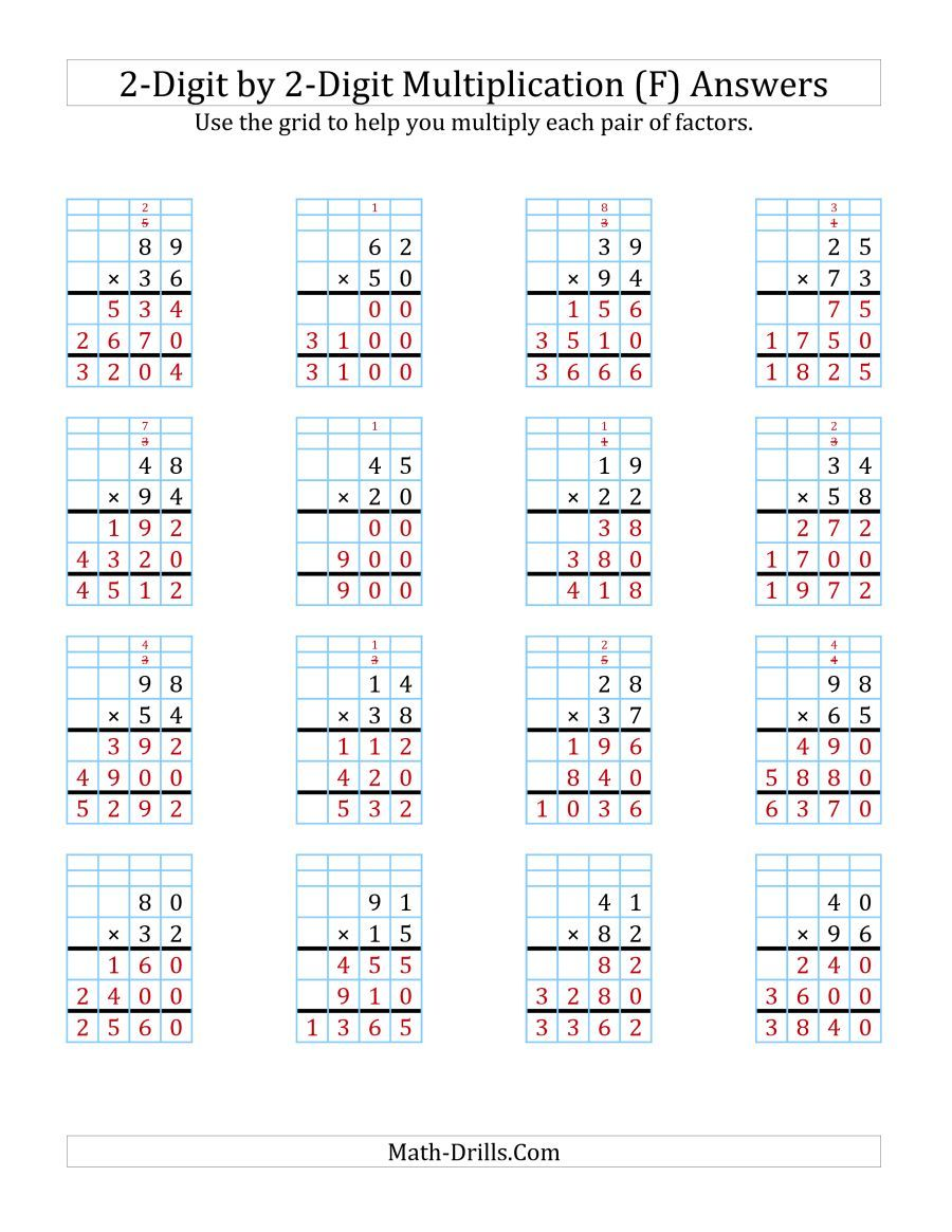 The 2 Digit By 2 Digit Multiplication With Grid Support F Math Worksheet Page 2 Multiplication Worksheets Multiplication Printable Math Worksheets [ 1165 x 900 Pixel ]