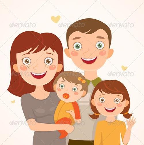 ร ปครอบคร วการ ต น ภาพการ ต นครอบคร วพ อแม ล ก สวย น าร ก Familia Feliz Dibujo Familia Ilustracion Dos Hijas
