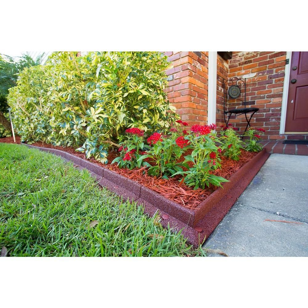 Ecoborder 4 ft l x in w red rubber landscape for Garden edging materials