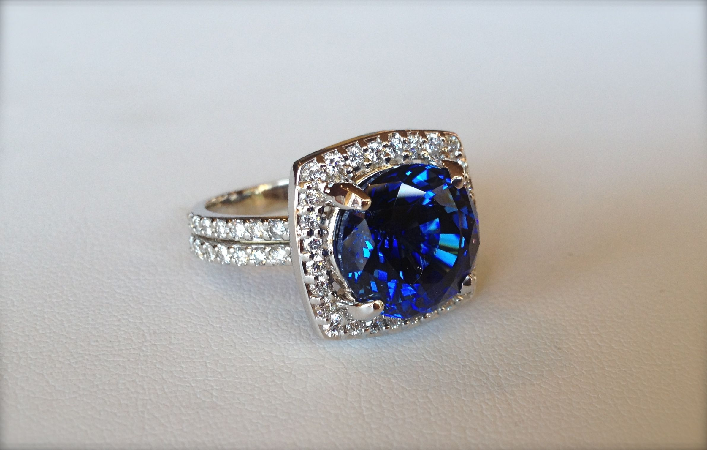 Just Created This Stunning 12 Carat Gem Quality Sapphire And Diamond Ring Stunning Sapphire Dia Handcrafted Designer Jewelry Jewelry Design Jewelry Creation