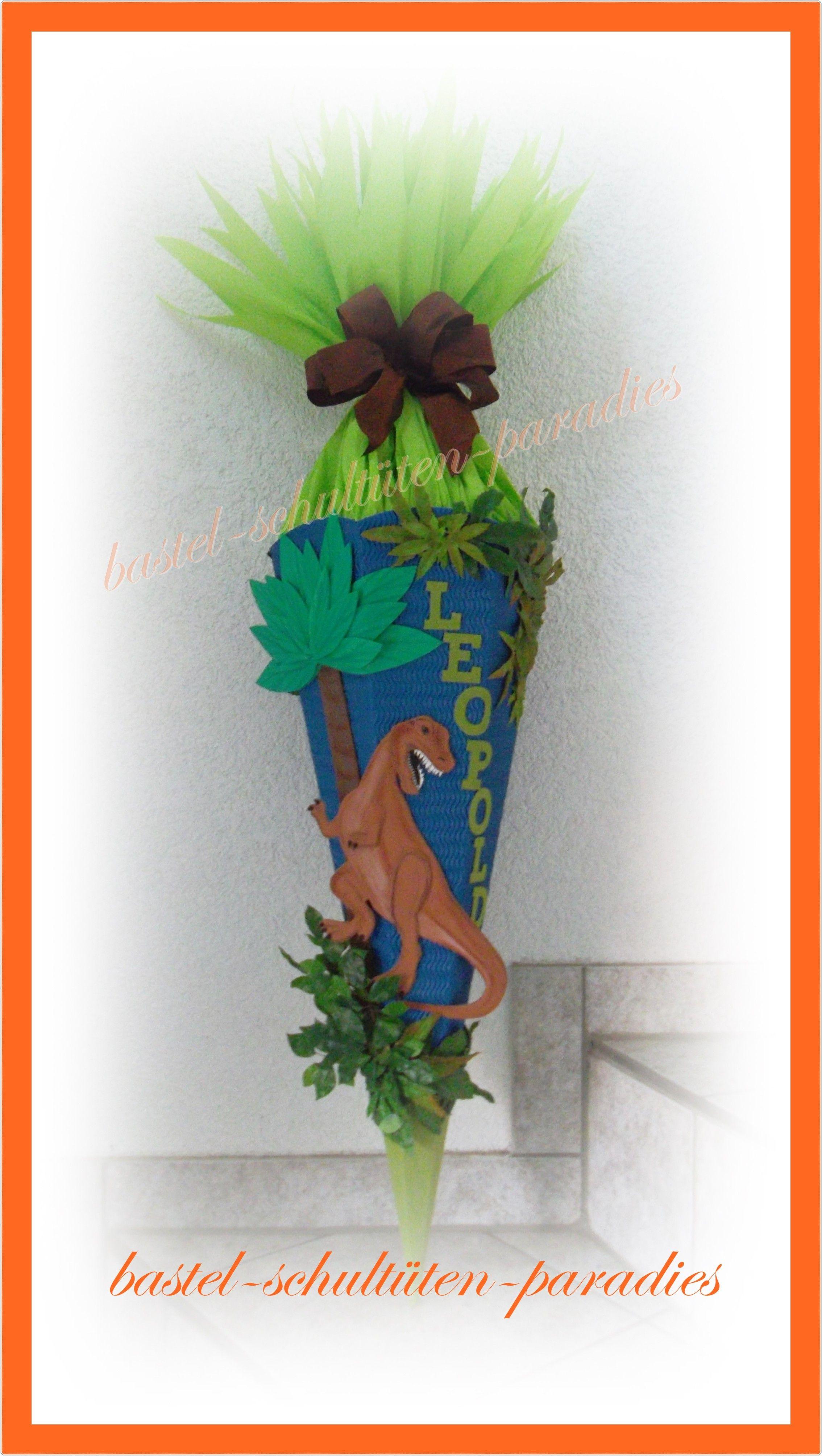 Schultüten Bastelset Dino Rex Blau Mit Blättern Schultüten