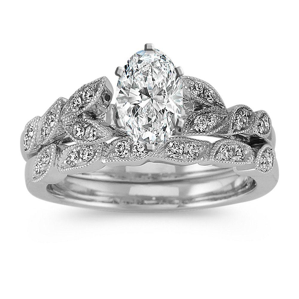 Vintage Diamond Wedding Set in Platinum Diamond wedding