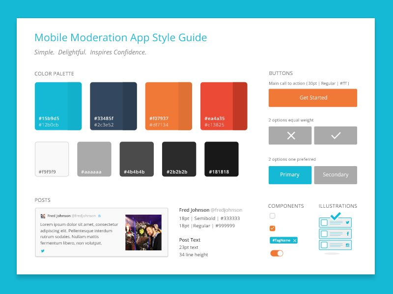 Mobile app styleguide style guides mobile app fashion app