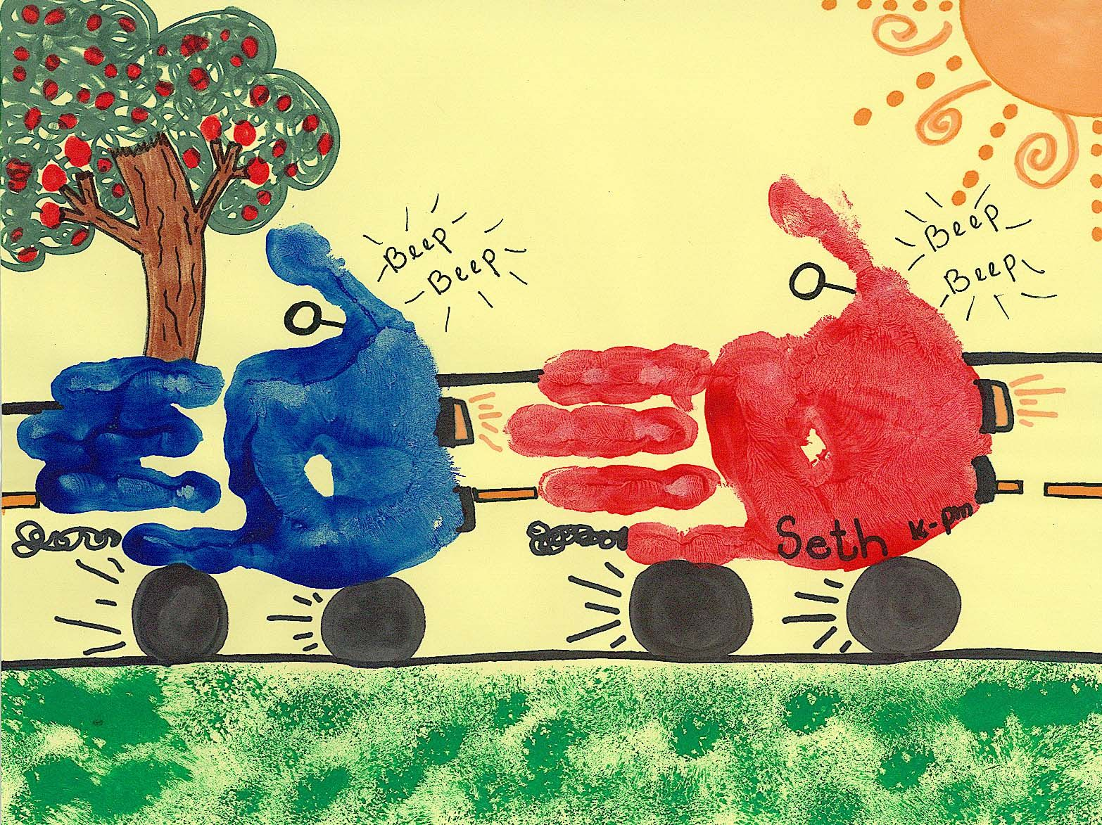 Car handprints preschool art for art to remember for Transportation crafts for preschoolers