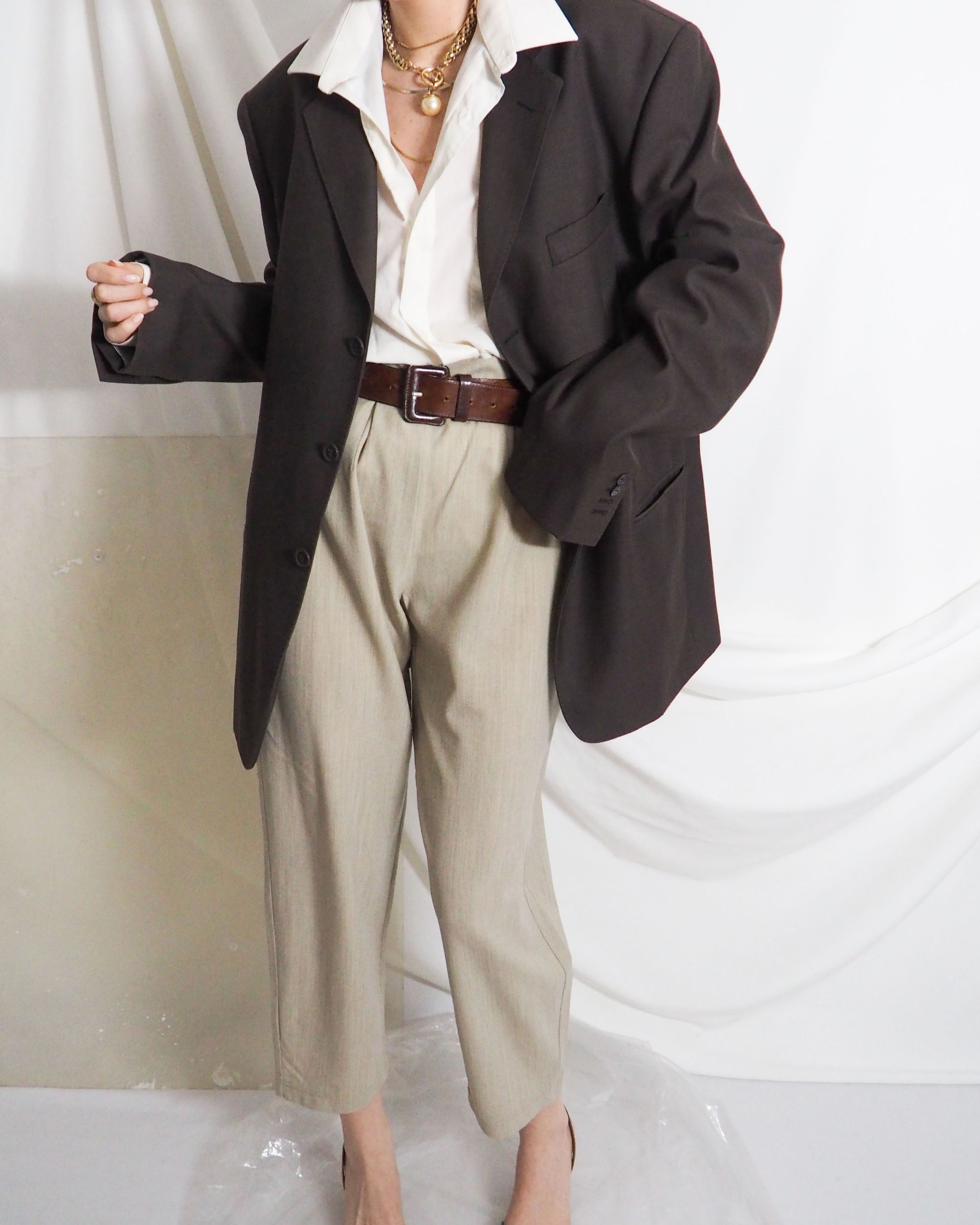 Vintage Oversized Dark Brown Blazer With Sand Wool Trousers And Buckle Belt Untitled 1991 In 2020 Vintage Clothing Online Vintage Outfits Online Shopping Clothes