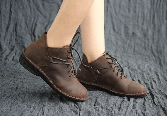 Retro Leather Shoes for Women, Flat