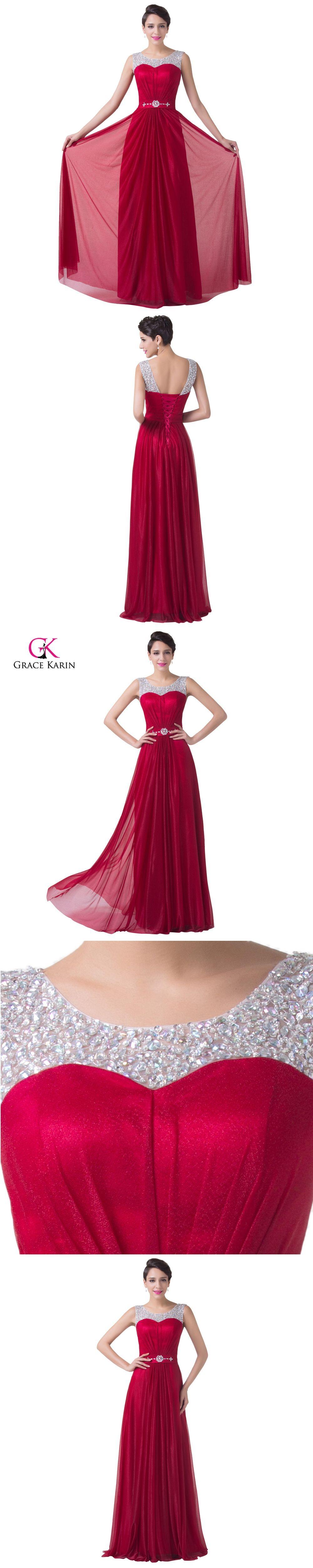 Burgundy prom dresses grace karin elegant sequins beaded lace