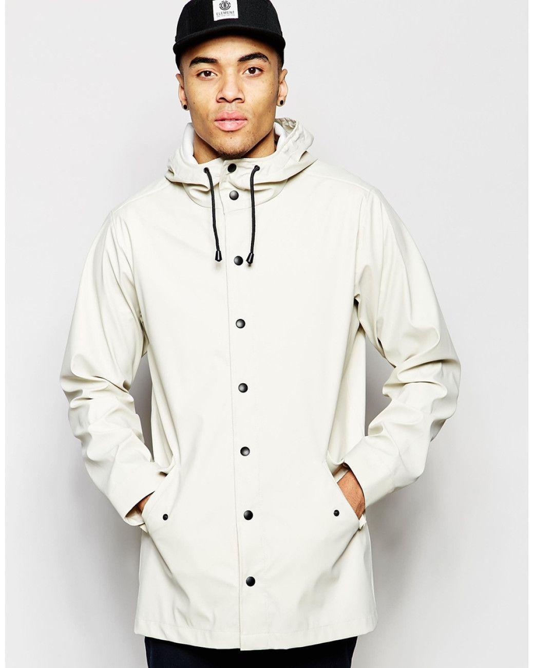febe7571b3 Men s White Rain Coat With Shower Resistance In Stone